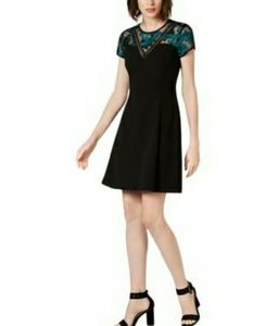 Kensie  Black and Emerald Green Embroidered Dress